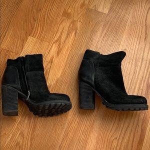 Sam Edelman black suede booties 3.5 inch heel